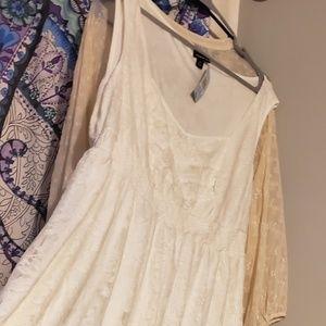 Torrid White Sleeveless Hi-Lo Dress